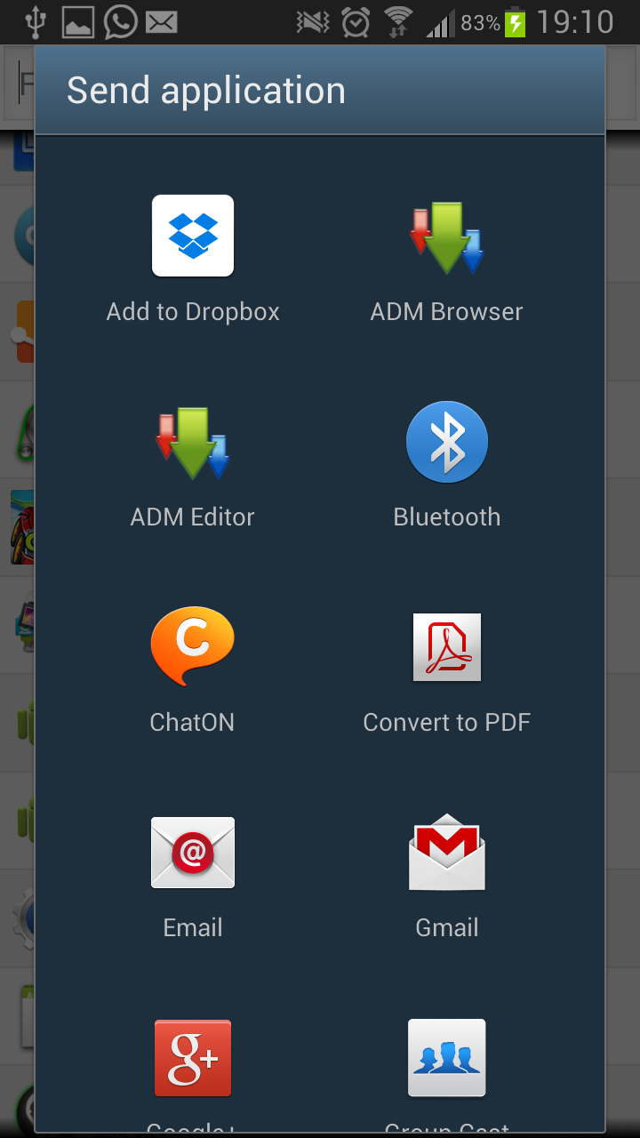 Share Installed Android Apps Via Bluetooth, Wifi, Email, Messenger