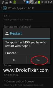 Say Yes! To Restart WhatsAppPlus