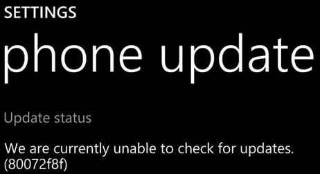 Error 80072f8f on Windows Phone while Software Updates
