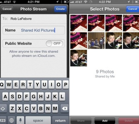 Share photos using shared photo stream
